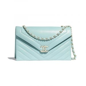 Chanel Light Blue Chevron Large Flap Bag