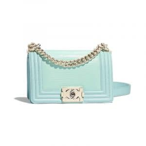 Chanel Light Blue Lizard Boy Chanel Small Flap Bag
