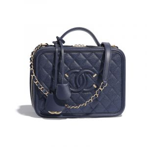 Chanel Navy Blue CC Filigree Vanity Case Bag