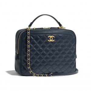 Chanel Navy Blue CC Vanity Case Large Bag