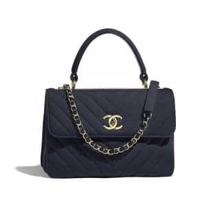 Chanel Navy Blue Chevron Jersey Trendy CC Small Top Handle Bag