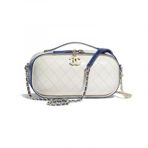 Chanel Navy Blue/White Crumpled Calfskin Vanity Case Bag