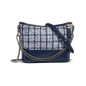 Chanel Navy Blue/White/Silver Tweed Gabrielle Hobo Bag
