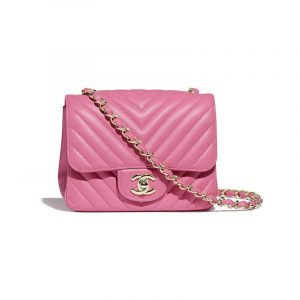 Chanel Pink Chevron Classic Flap Square Mini Bag
