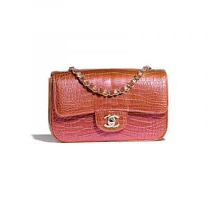 Chanel Pink/Gold Alligator Classic Flap Mini Bag