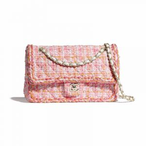 Chanel Pink/White/Yellow/Orange Tweed/Braid Classic Flap Medium Bag