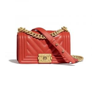 Chanel Red Chevron Boy Chanel Small Flap Bag