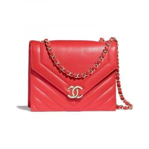 Chanel Red Chevron Medium Flap Bag