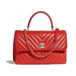 Chanel Red Chevron Trendy CC Top Handle Bag
