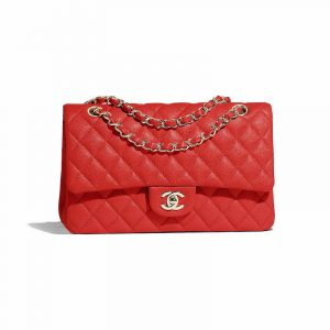 Chanel Red Classic Flap Medium Bag