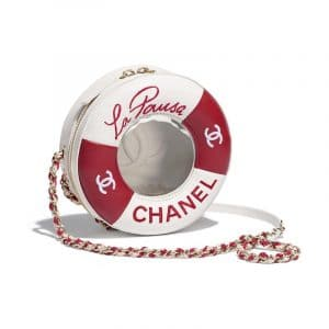 Chanel Red/White Coco Lifesaver Round Bag