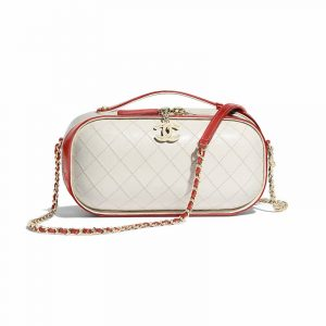 Chanel Red/White Crumpled Calfskin Vanity Case Bag