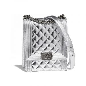 Chanel Silver Boy North/South Flap Bag