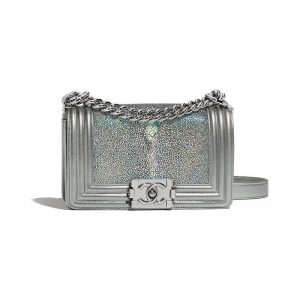 Chanel Silver Galuchat Boy Chanel Small Flap Bag