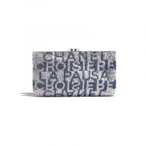 Chanel Silver/Dark Blue Embroidered Satin Evening Clutch Bag