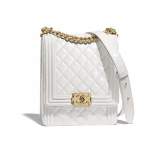 Chanel White Boy North/South Flap Bag