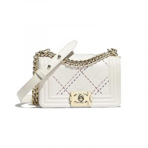 Chanel White Embroidered Boy Chanel Small Flap Bag
