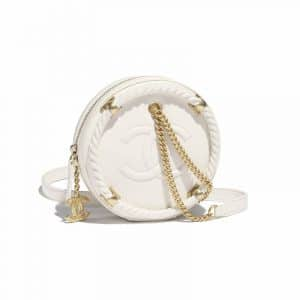 Chanel White En Vogue Small Round Crossbody Bag