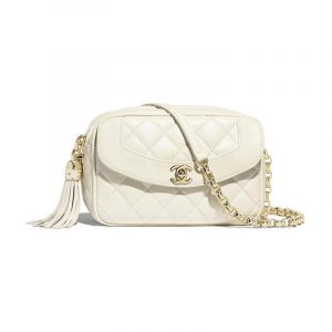 Chanel White Lambskin Small Camera Case Bag