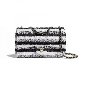 Chanel White/Black Sequins Classic Flap Medium Bag