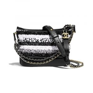 Chanel White/Black Sequins Gabrielle Small Hobo Bag