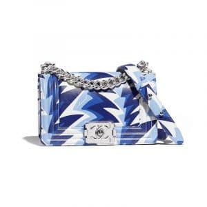 Chanel White/Blue Printed Boy Chanel Small Flap Bag