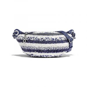 Chanel White/Blue Sequins Waist Bag