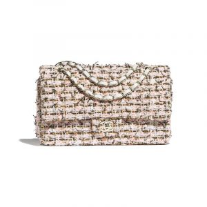 Chanel White/Gold/Orange Tweed Classic Flap Medium Bag