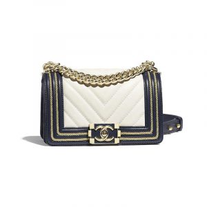 Chanel White/Navy Blue Braided Boy Chanel Small Flap Bag