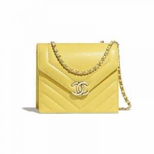 Chanel Yellow Chevron Small Flap Bag