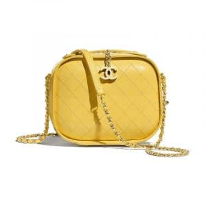 Chanel Yellow Crumpled Calfskin Small Vanity Case Bag