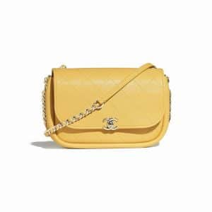 Chanel Yellow Lambskin Flap Bag