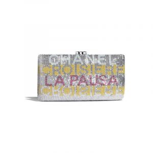 Chanel Yellow/Pink/Silver Embroidered Satin Evening Clutch Bag