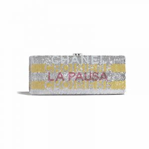 Chanel Yellow/Pink/Silver La Pausa Embroidered Satin Clutch Bag