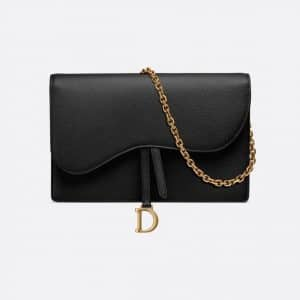 Dior Black Calfskin Saddle Clutch Bag