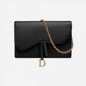 Dior Black Calfskin Saddle Clutch Bag