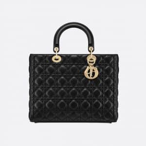 Dior Black Cannage Large Lady Dior Bag