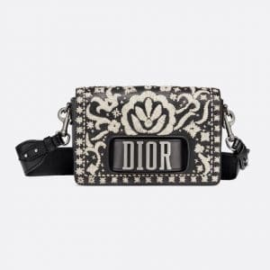 Dior Black/Off-White Leather Floral Embroidered Dio(r)evolution Flap Bag