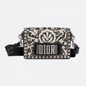 Dior Black/Off-White Leather Floral Embroidered Dio(r)evolution Flap Bag