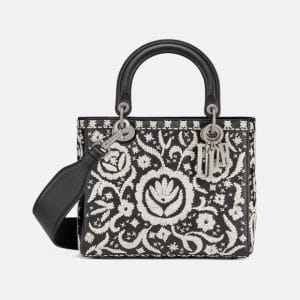 Dior Black/Off-White Leather Floral Embroidered Lady Dior Bag