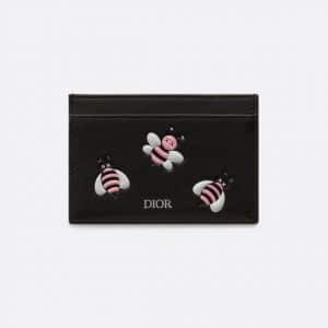 Dior Black/Pink Bee Printed Dior x Kaws Card Holder