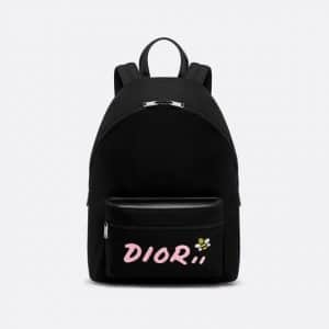 Dior Black/Pink Nylon Dior x Kaws Backpack Bag