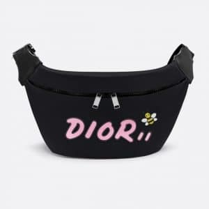 Dior Black/Pink Nylon Dior x Kaws Belt Bag