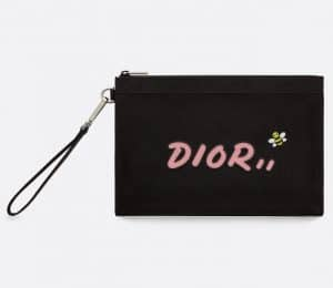 Dior Black/Pink Nylon Bee Printed Dior x Kaws Zipped Card and Coin Holder