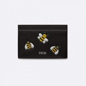 Dior Black/Yellow Bee Printed Dior x Kaws Card Holder