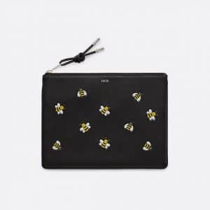 Dior Black/Yellow Bee Printed Dior x Kaws Pouch Bag