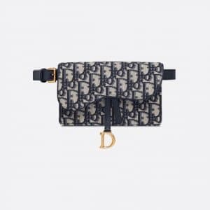 Dior Blue Oblique Saddle Belt Pouch Bag