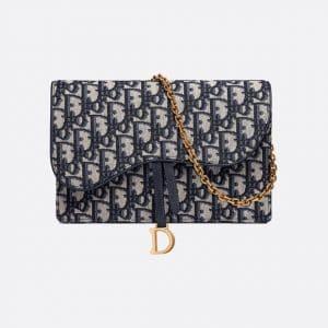 Dior Blue Oblique Saddle Clutch Bag