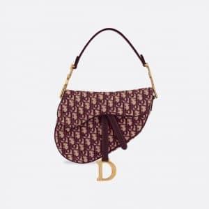 Dior Burgundy Oblique Saddle Bag