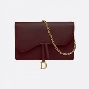 Dior Burgundy Calfskin Saddle Clutch Bag